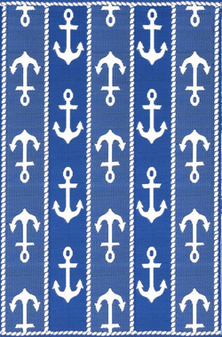 Mad Mat Anchor Blue White Carpet Diem