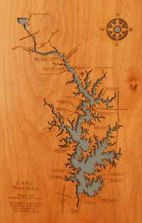 Wooden lake map
